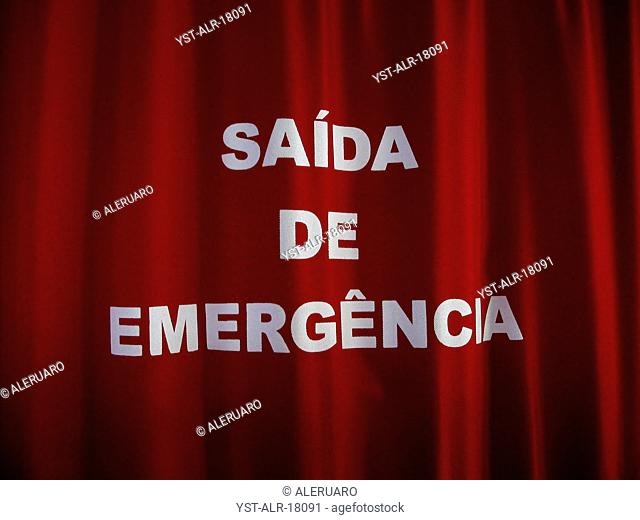 Emergency Exit, curtain, warning, Brazil