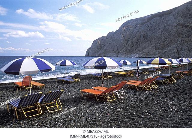 Black Beach, Kamari, Santorini, Cyclades, Greece