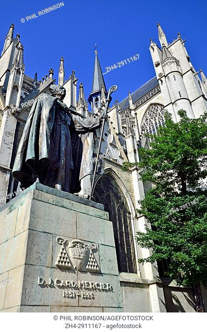 Brussels, Belgium. Statue of Cardinal Désiré-Joseph Mercier (1851-1926) in front of the Cathedral of St. Michael and St. Gudula (1519: Gothic)
