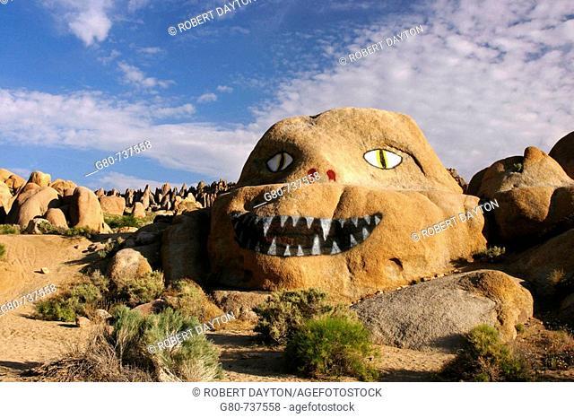 Graffiti on a boulder in the Alabama Hills in California, USA