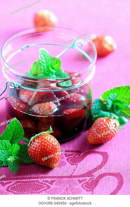 Wine and mint strawberries