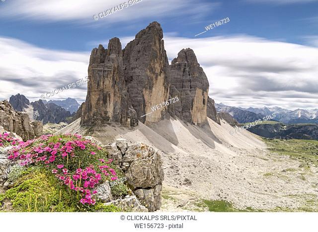 Sesto / Sexten, province of Bolzano, Dolomites, South Tyrol, Italy. The Tree Peaks