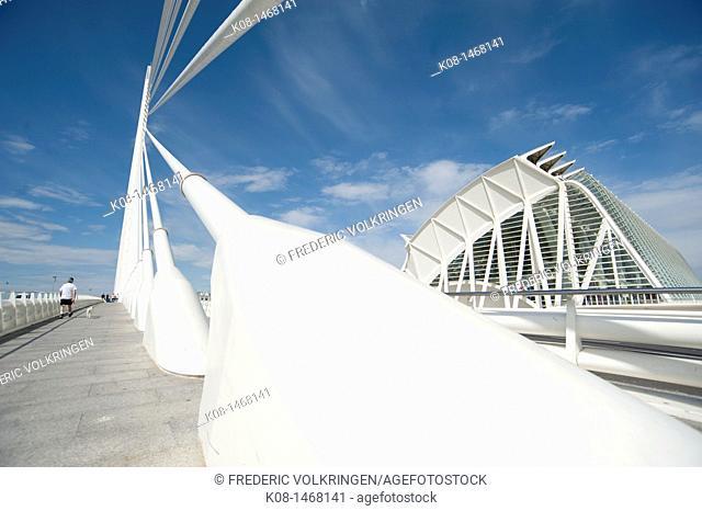 Sciences museum of Valencia, bridge, Ágora, Santiago Calatrava, cyclist, bicycle path, pedestrian, Spain, Valencia