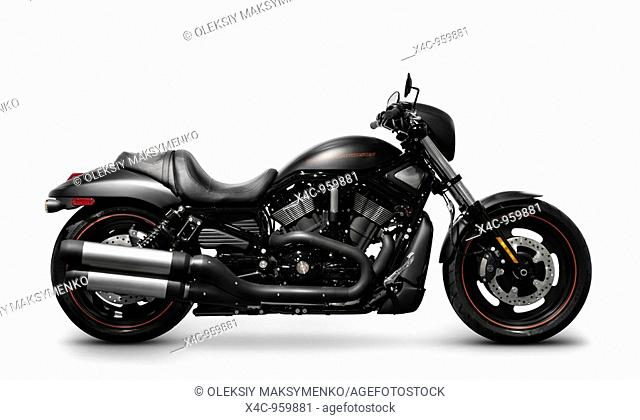 Black 2007 Harley Davidson VRSCD Night Rod Special motorcycle Isolated solhouette with clipping path on white background