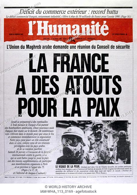 Headline in 'l'Humanite' a French left wing, newspaper, 24th February 1991, against the escalating action in the Gulf War (2 August 1990 - 28 February 1991)