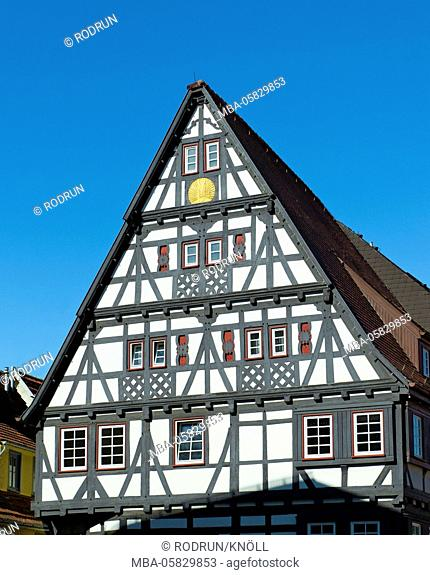 Germany, Baden-Wurttemberg, Nürtingen, half-timbered house 'Alte Schmiede', half-timbered with solar icon