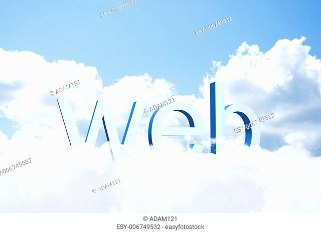 3d word web on the clouds, the concept of the modern internet