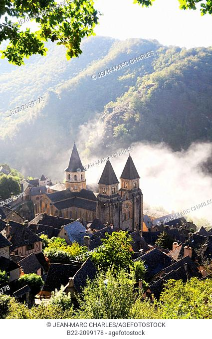 The Sainte-Foy abbey-church in Conques, Aveyron, Midi-Pyrénées, France