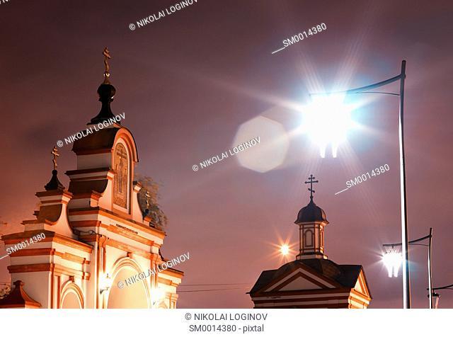 Altufievo church with light leak Moscow district background hd