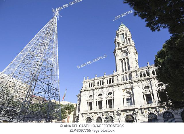 City hall and Christmas tree on January 8, 2018 in Porto Portugal