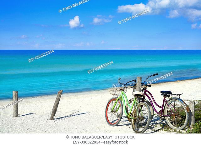 Holbox island tropical beach bicycles in Mexico