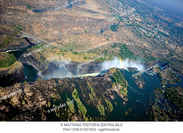 The edge of the Victoria Falls pictured from the Zambian side, following the course of the river through deep gorges in Zimbabwean territory, pictured on 30
