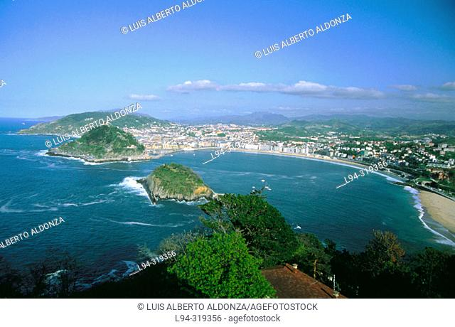 La Concha Bay and Santa Clara Island. San Sebastián. Basque Country. Spain