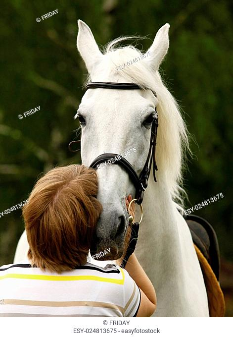 woman hugging a white horse with love