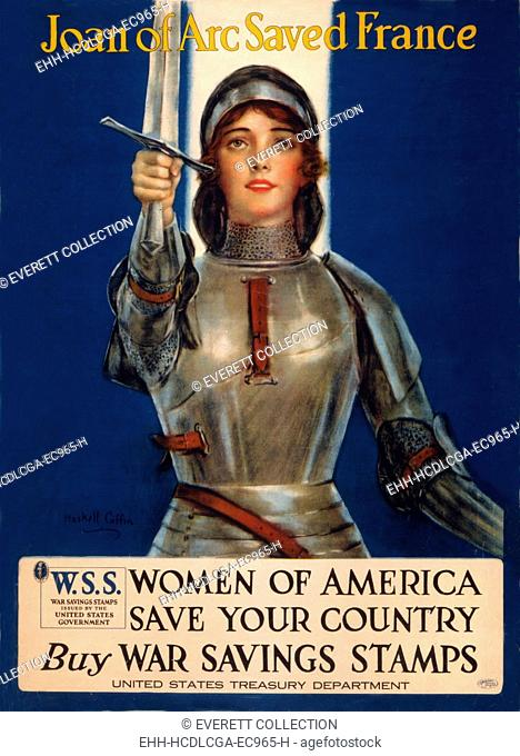 World War I, Poster showing Joan of Arc raising a sword, original title: 'Joan of Arc saved France, Women of America, save your country