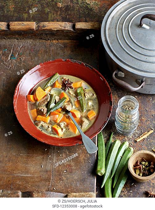 Sweet potato soup with lamb and okra pods