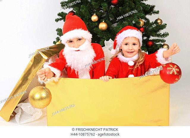 Geschwister als Weihnachtsmann verkleidet, Studio, Zuerich, Switzerland