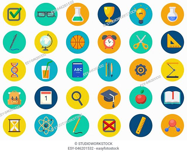 Back to school vector icon set. Concept icons of education and learning. Knowledge sign