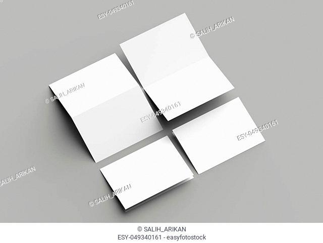 Bi fold vertical - landscape brochure or invitation mock up isolated on gray background