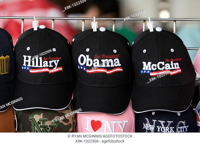 A row of political presidential campaign caps on sale at a vendor near the World Trade Center in New York City, New York, USA, June 3, 2008