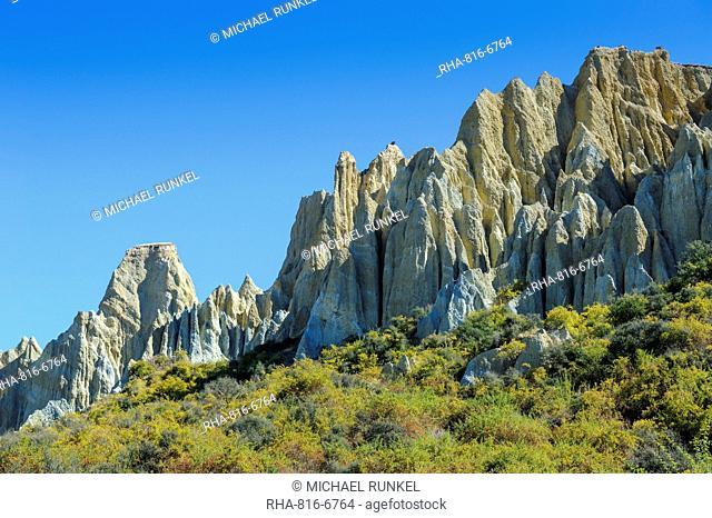 Huge sharp pinnacles of the Omarama clay cliffs, Otago, South Island, New Zealand, Pacific