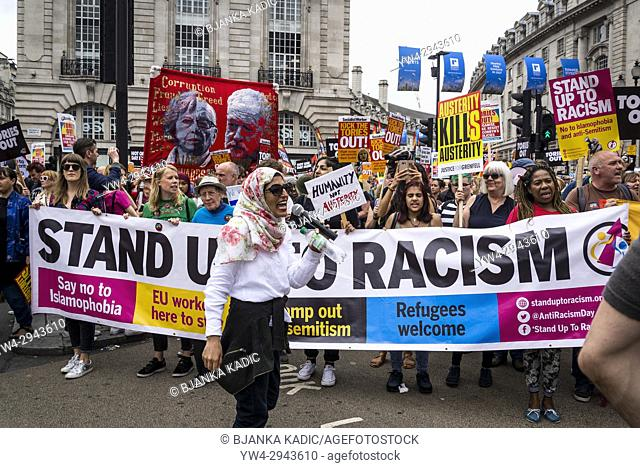 Stand up to Racism, Not One Day More - Tories Out National Demonstration, an Anti-Government and Teresa May protest organised by an anti-austerity campaign...