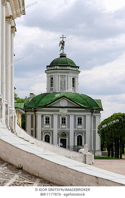 Orthodox church, Kuskovo estate, summer residence of the Sheremetev family, Moscow, Russia