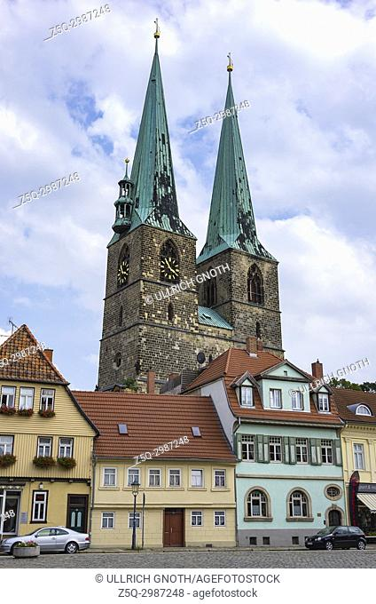 View through Pölkenstrasse Street to St. Nikolai's Church in the Old Town of Quedlinburg, Saxony-Anhalt, Germany