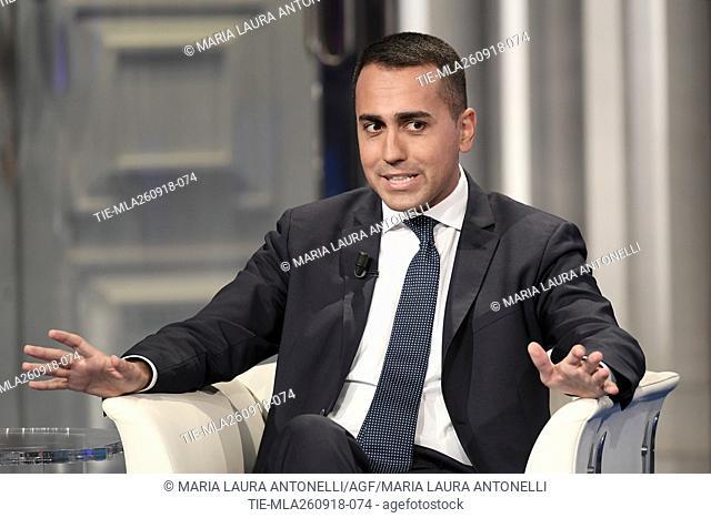 Italian Minister of Economic Development and Labour Luigi Di Maio during the tv show Porta a porta, Rome, ITALY-25-09-2018