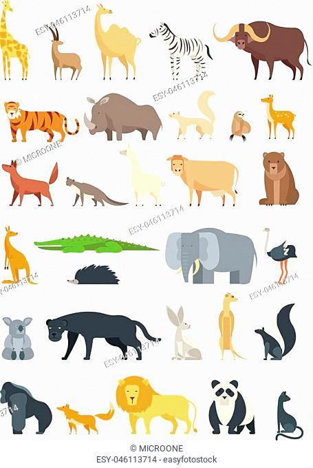 Flat african, jungle and forest animals. Cute mammals and reptiles. Wild fauna vector set isolated. Elephant and lion, giraffe and fox