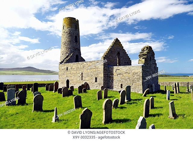 Saint St. Magnus Church, Egilsay, Orkney Islands, Scotland. 12th C Viking Norse round bell-tower tower Christian Saint Magnus's chapel and graveyard