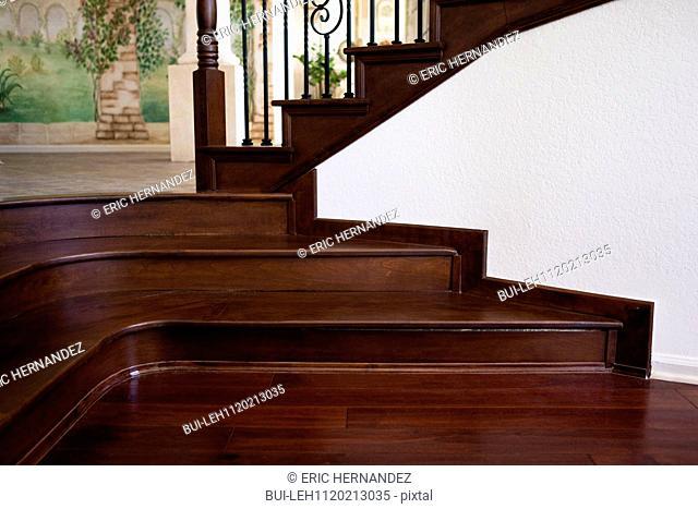 Detail shot of wooden stairs at home; Laguna Niguel; California; USA