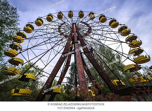 Ferris wheel in amusement park in Pripyat ghost city of Chernobyl Nuclear Power Plant Zone of Alienation around nuclear reactor disaster in Ukraine
