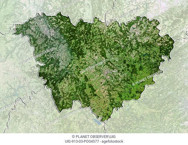 Departement of Haute-Loire, France, True Colour Satellite Image