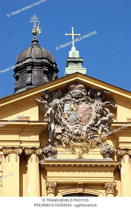 Coat of arms above the main entrance of the Theatine Church, München, Bavaria, Germany