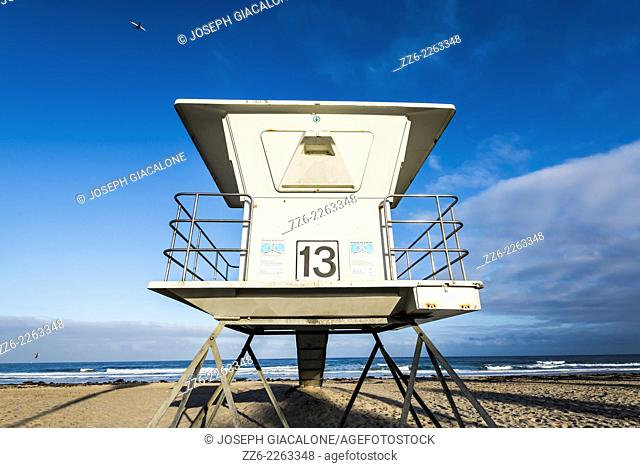 View of lifeguard tower number 13 at Mission Beach. San Diego, California, United States