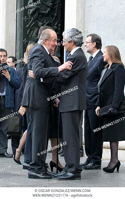 State funeral for former Spanish president Adolfo Suarez held at Almudena Cathedral. Suarez died March 23, aged 81. Featuring: King Juan Carlos of Spain Where:...