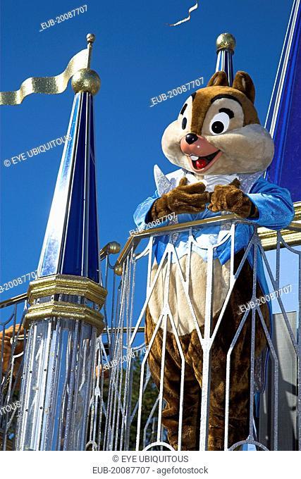 Walt Disney World Resort. Chipmunk character during the Disney Dreams Come True parade in the Magic Kingdom