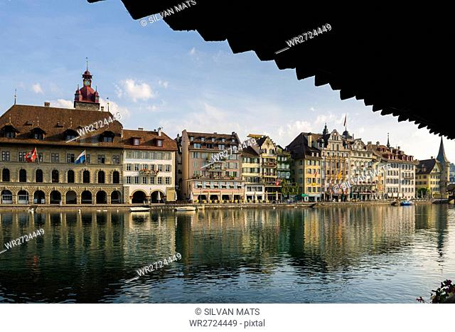 Lucerne and river in a sunny day in Switzerland