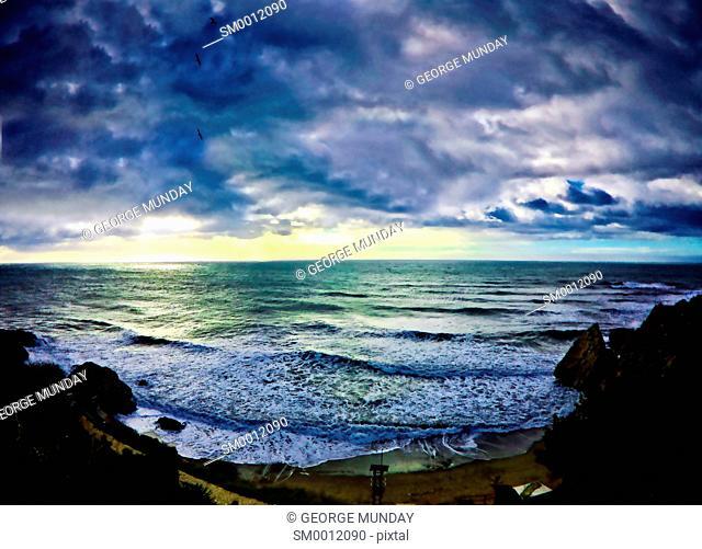 Stormy Seascape, Playa Carabeo, Nerja,