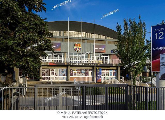 Exterior of the sporting venue, Palau Blaugrana, Camp Nou, Barcelona, Catalonia, Spain. The Palau Blaugrana is an indoor sporting venue belonging to FC...