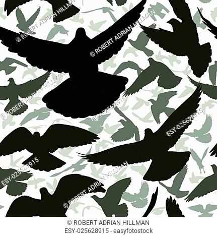 Vector seamless tile of a flock of flying pigeons