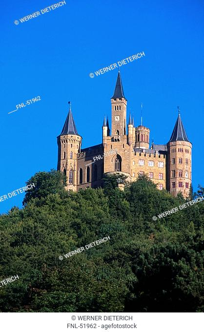 Castle on mountain, Hohenzollern Castle, Baden-Wurttemberg, Germany