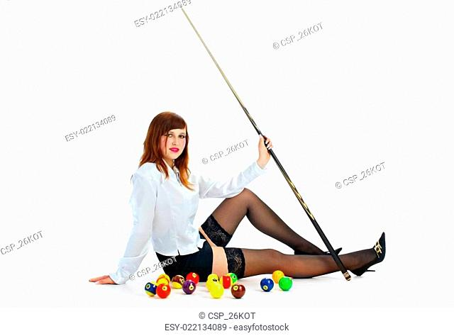 brunette with cue and billiard ball