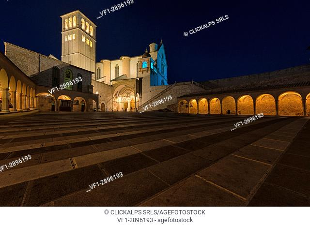Italy, Umbria, Assisi, Basilica of Saint Francis by night