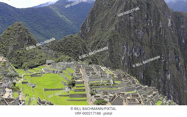 Machu Picchu Peru the famous ruins of the Incas with mountains and peaks from above South America