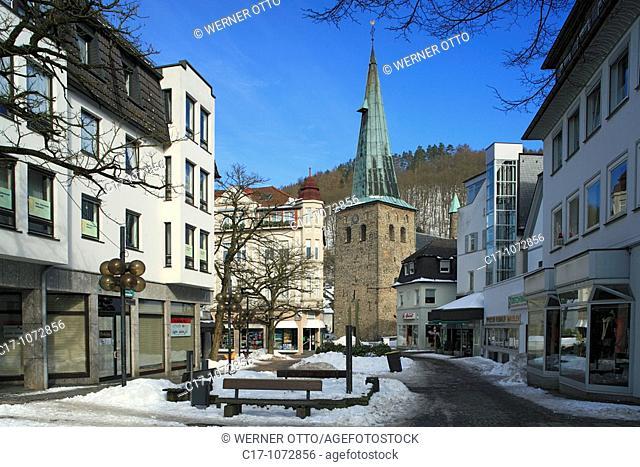 Germany, Plettenberg, Else, Lenne, Lennetal, Lennegebirge, Lennebergland, Sauerland, North Rhine-Westphalia, downtown, pedestrian mall, shopping street, shops