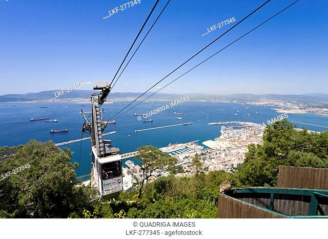 View overlooking the bay of Algeciras from Gibraltar's cablecar, Province Malaga, Andalucia, Spain