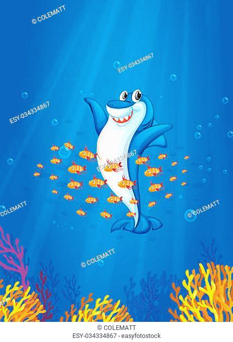illustration of shark fish in deep blue sea