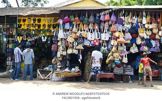 Roadside bag and shoe shop near Anjuna Goa India